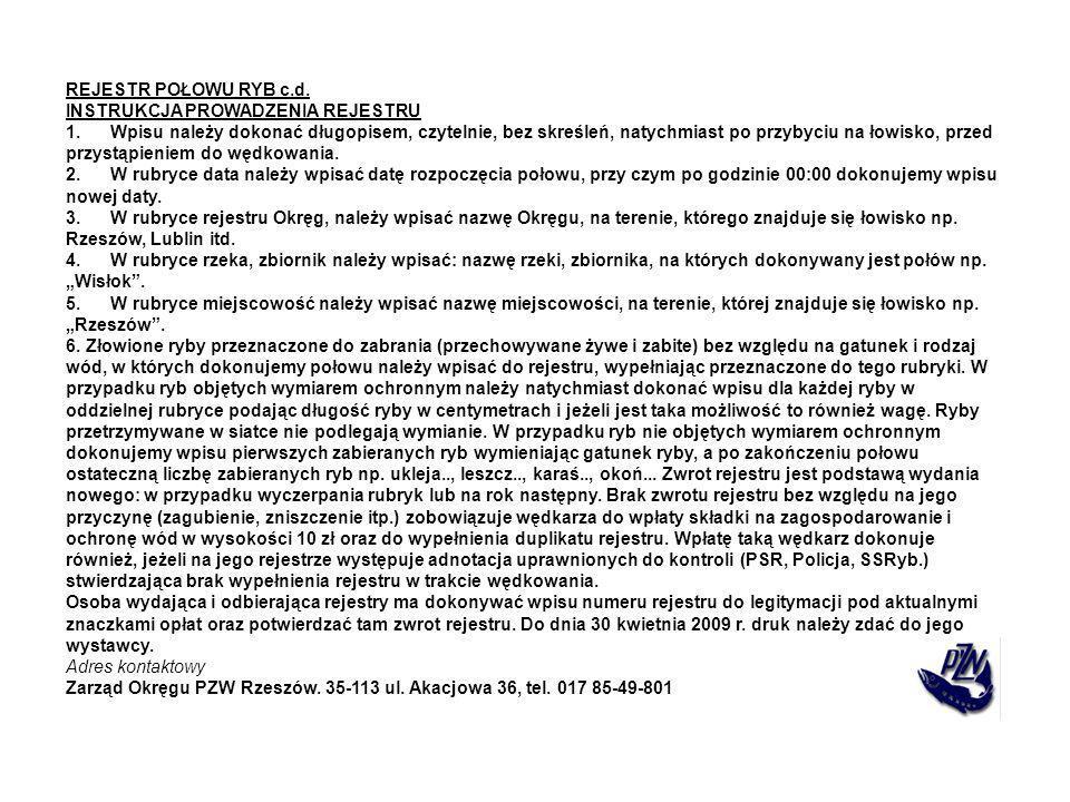 REJESTR POŁOWU RYB c.d. INSTRUKCJA PROWADZENIA REJESTRU.