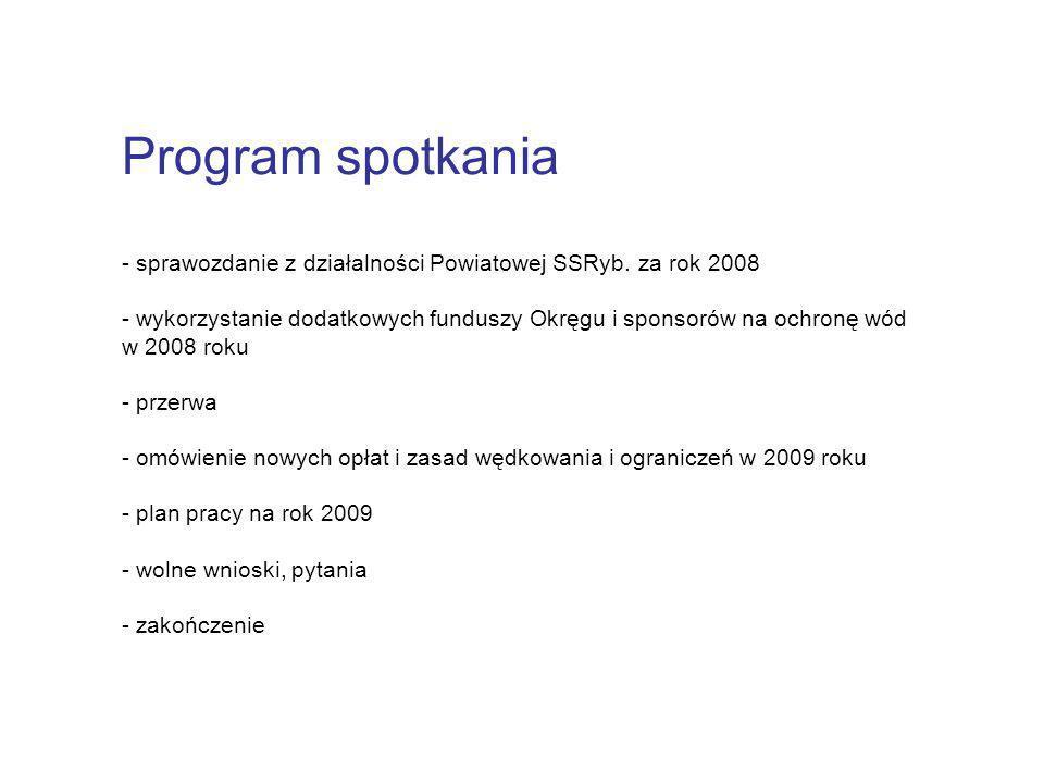 Program spotkania - sprawozdanie z działalności Powiatowej SSRyb. za rok 2008.