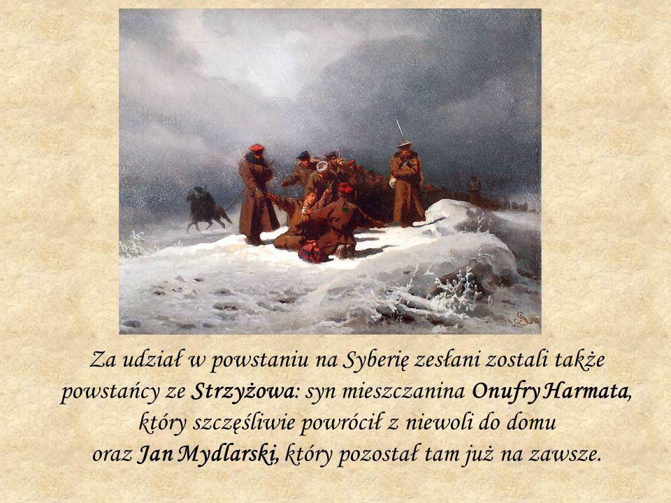 Za udział w powstaniu na Syberię zesłani zostali także powstańcy ze Strzyżowa: syn mieszczanina Onufry Harmata, który szczęśliwie powrócił z niewoli do domu oraz Jan Mydlarski, który pozostał tam już na zawsze.