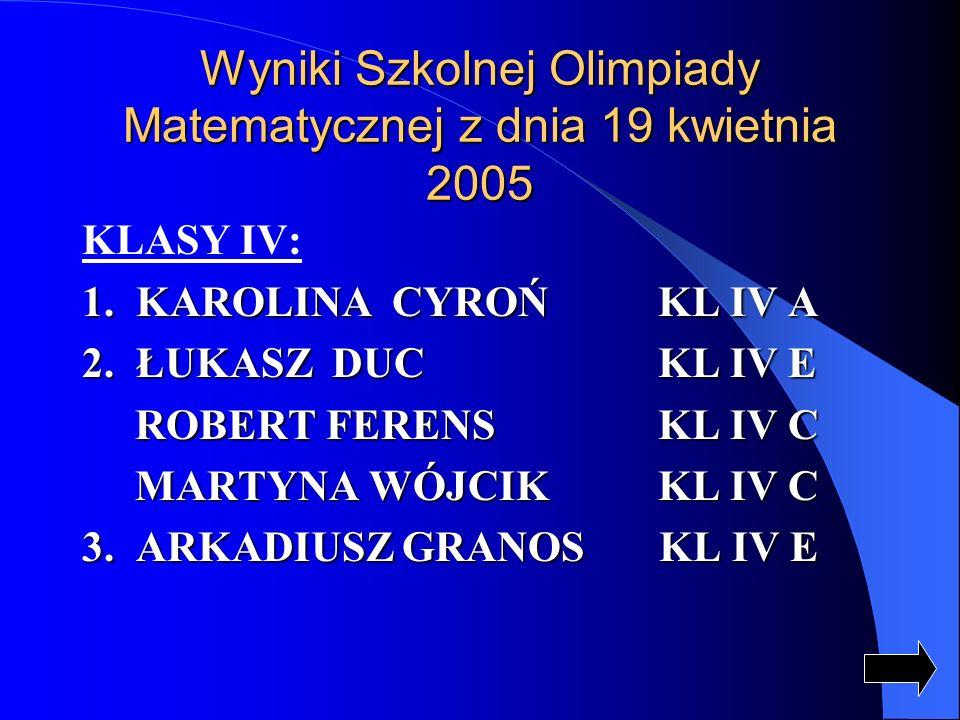 Wyniki Szkolnej Olimpiady Matematycznej z dnia 19 kwietnia 2005