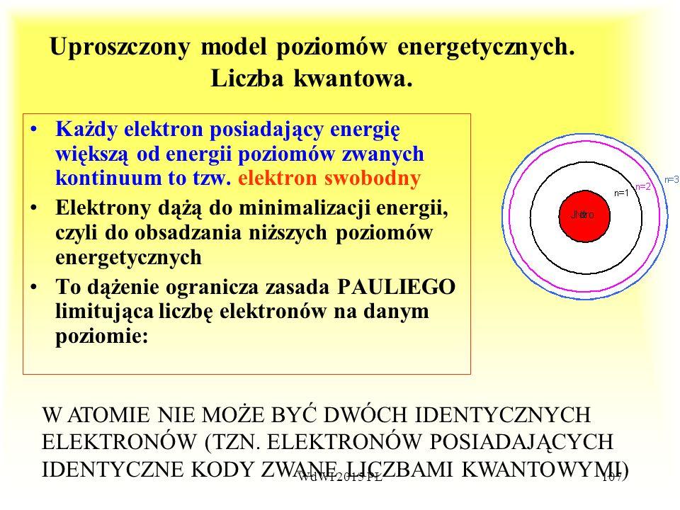 Uproszczony model poziomów energetycznych. Liczba kwantowa.