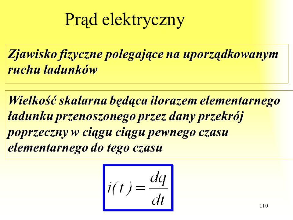 Prąd elektryczny Zjawisko fizyczne polegające na uporządkowanym ruchu ładunków.