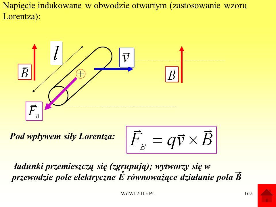 Napięcie indukowane w obwodzie otwartym (zastosowanie wzoru Lorentza):