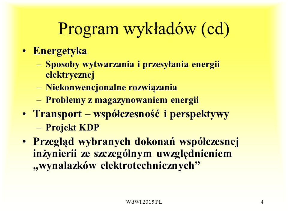 Program wykładów (cd) Energetyka