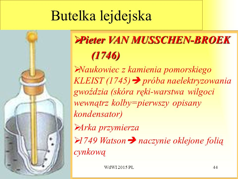 Butelka lejdejska Pieter VAN MUSSCHEN-BROEK (1746)