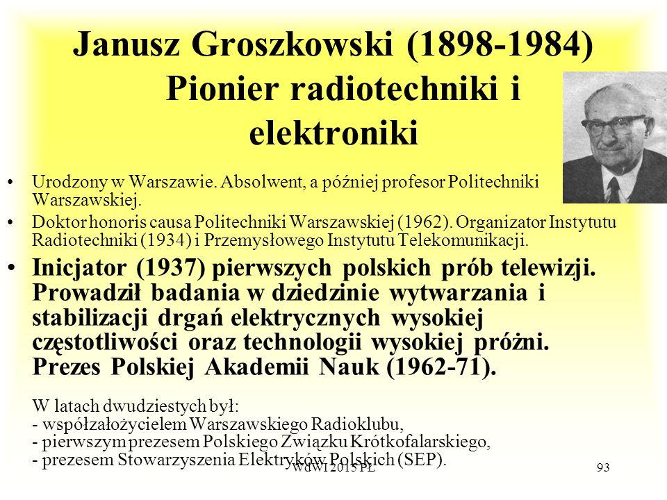 Janusz Groszkowski (1898-1984) Pionier radiotechniki i elektroniki