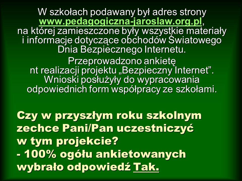 W szkołach podawany był adres strony www. pedagogiczna-jaroslaw. org