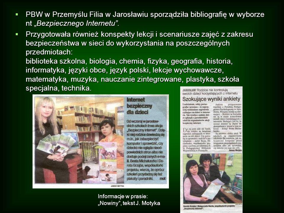 """PBW w Przemyślu Filia w Jarosławiu sporządziła bibliografię w wyborze nt """"Bezpiecznego Internetu ."""