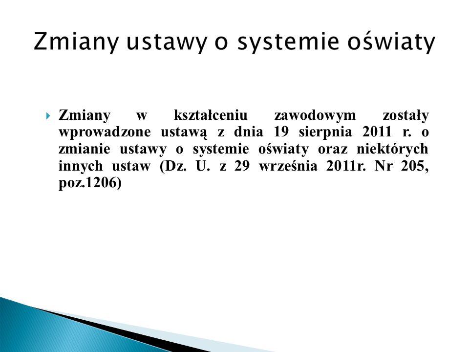 Zmiany w kształceniu zawodowym zostały wprowadzone ustawą z dnia 19 sierpnia 2011 r.