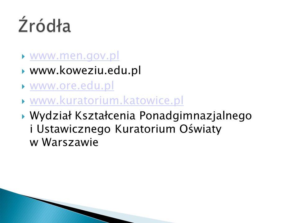 www.men.gov.pl www.koweziu.edu.pl. www.ore.edu.pl. www.kuratorium.katowice.pl.
