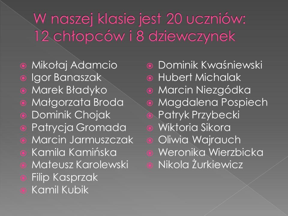 W naszej klasie jest 20 uczniów: 12 chłopców i 8 dziewczynek