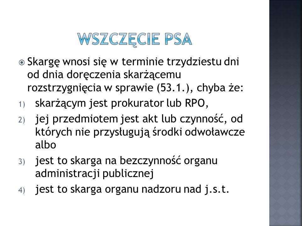 Wszczęcie psa Skargę wnosi się w terminie trzydziestu dni od dnia doręczenia skarżącemu rozstrzygnięcia w sprawie (53.1.), chyba że: