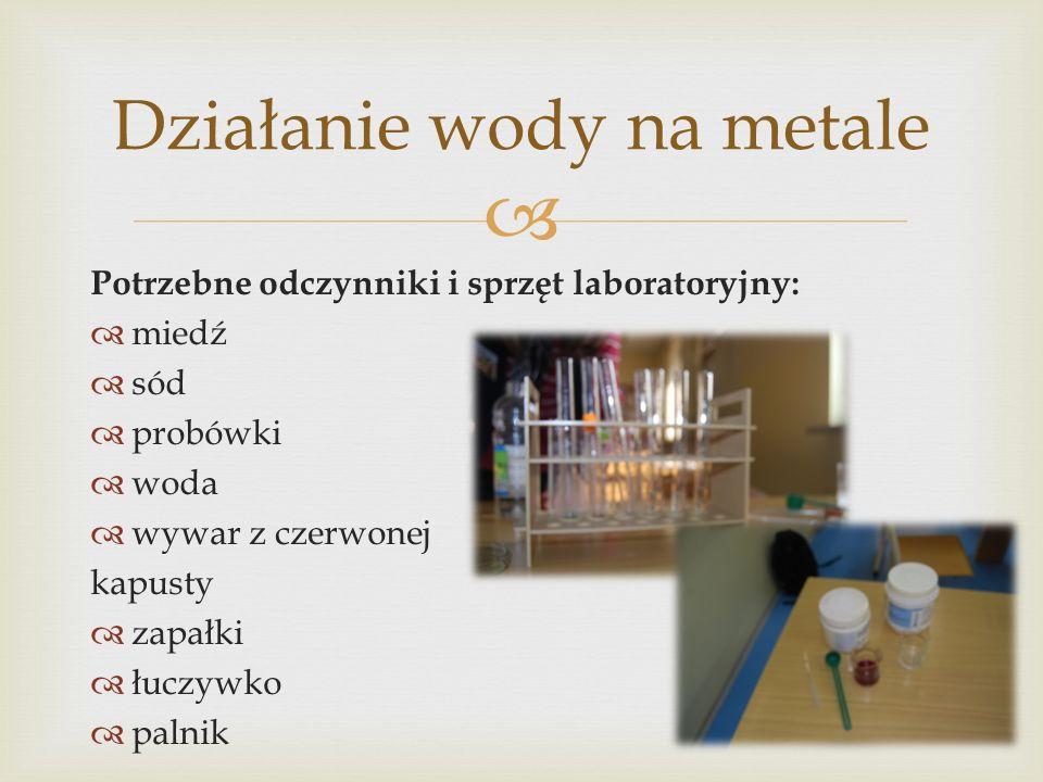 Działanie wody na metale