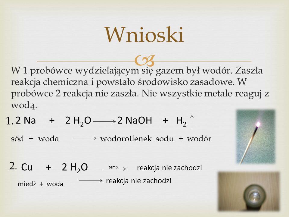 Wnioski 1. 2. sód + woda wodorotlenek sodu + wodór