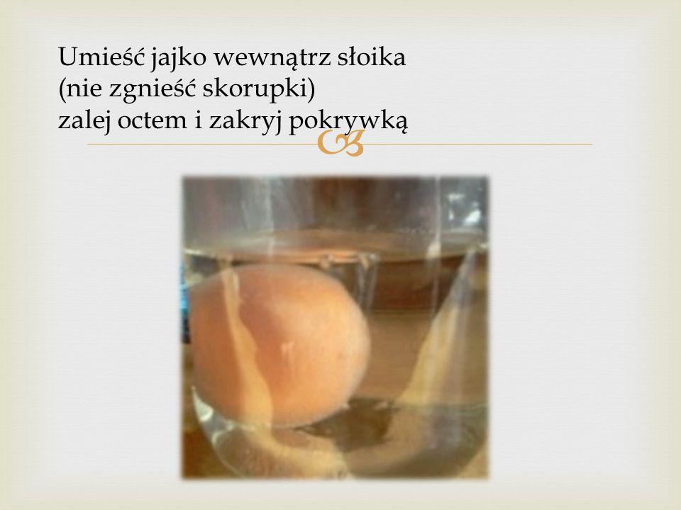 Umieść jajko wewnątrz słoika (nie zgnieść skorupki) zalej octem i zakryj pokrywką