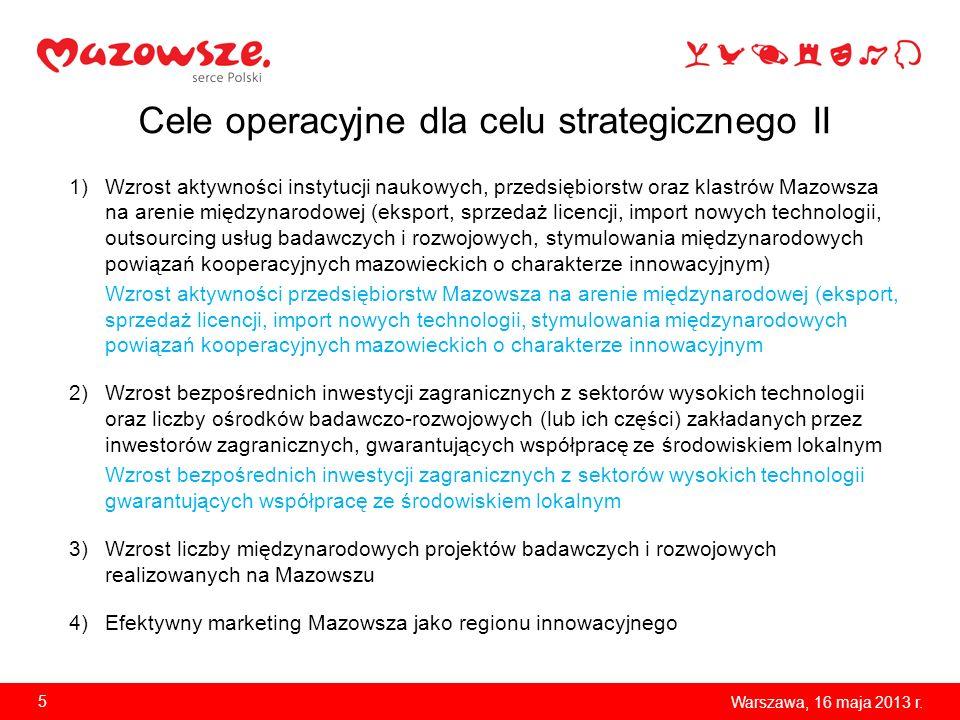 Cele operacyjne dla celu strategicznego II