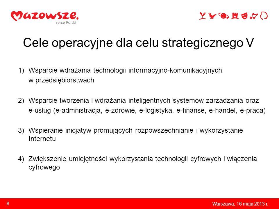 Cele operacyjne dla celu strategicznego V