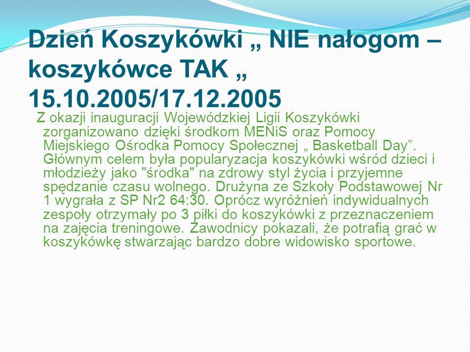 """Dzień Koszykówki """" NIE nałogom – koszykówce TAK """" 15. 10. 2005/17. 12"""