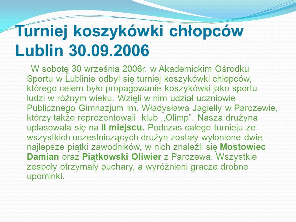 Turniej koszykówki chłopców Lublin 30.09.2006