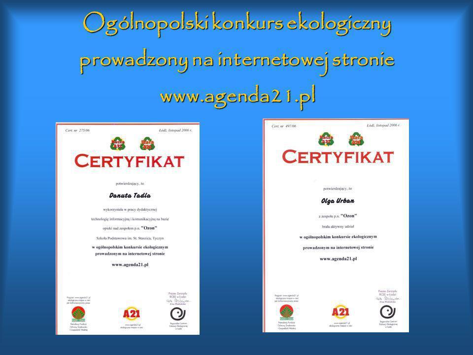 Ogólnopolski konkurs ekologiczny prowadzony na internetowej stronie www.agenda21.pl