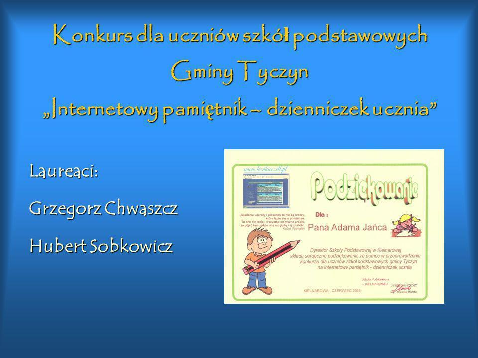 """Konkurs dla uczniów szkół podstawowych Gminy Tyczyn """"Internetowy pamiętnik – dzienniczek ucznia"""