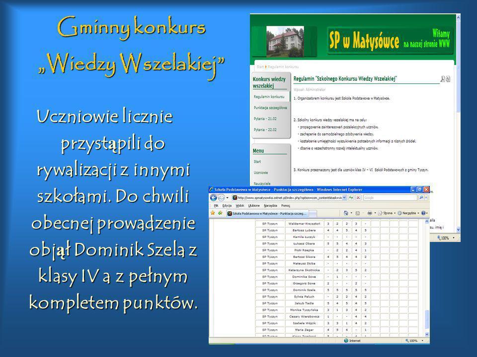 """Gminny konkurs """"Wiedzy Wszelakiej"""
