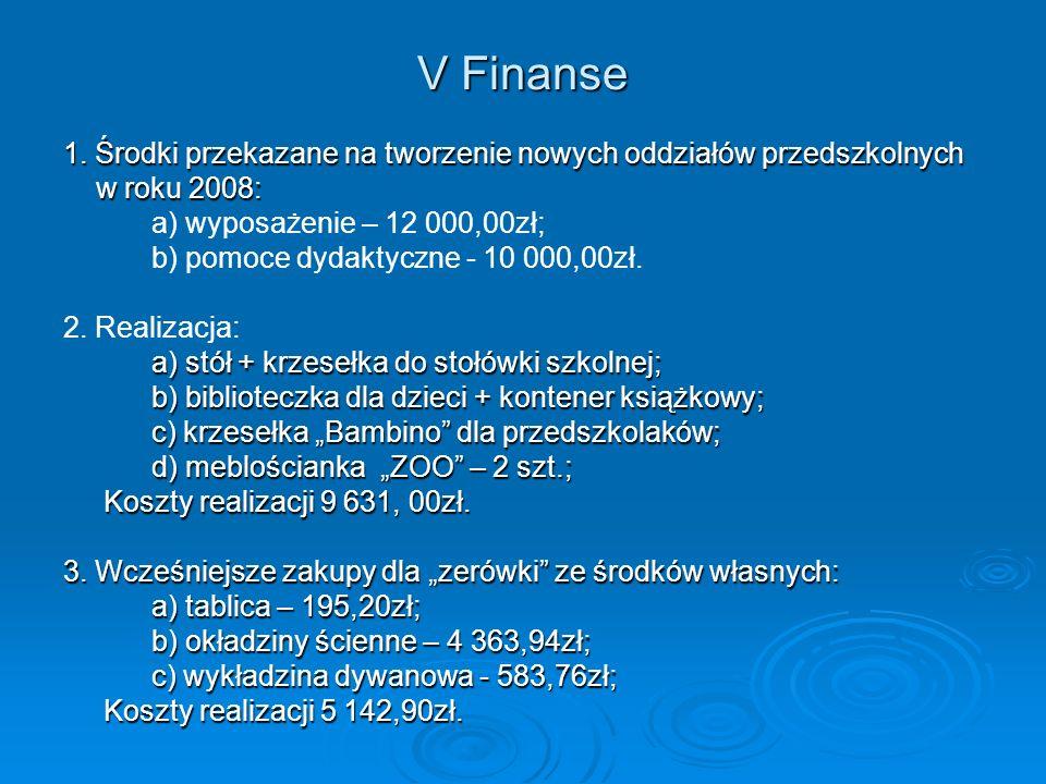 V Finanse 1. Środki przekazane na tworzenie nowych oddziałów przedszkolnych. w roku 2008: a) wyposażenie – 12 000,00zł;