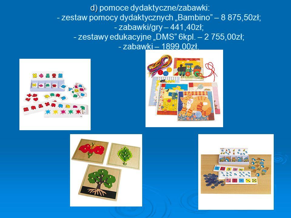 """d) pomoce dydaktyczne/zabawki: - zestaw pomocy dydaktycznych """"Bambino – 8 875,50zł; - zabawki/gry – 441,40zł; - zestawy edukacyjne """"DMS 6kpl."""