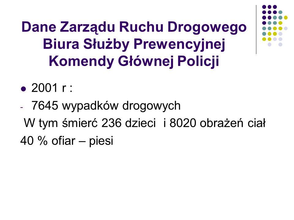 Dane Zarządu Ruchu Drogowego Biura Służby Prewencyjnej Komendy Głównej Policji