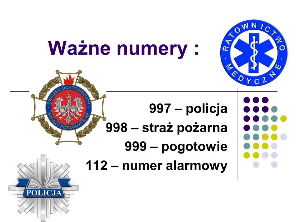 997 – policja 998 – straż pożarna 999 – pogotowie 112 – numer alarmowy