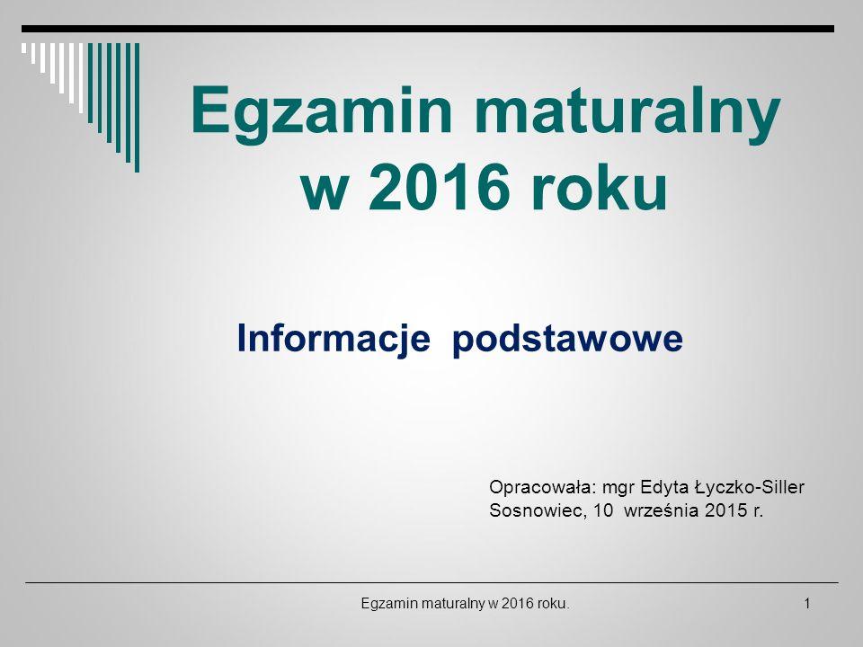Egzamin maturalny w 2016 roku