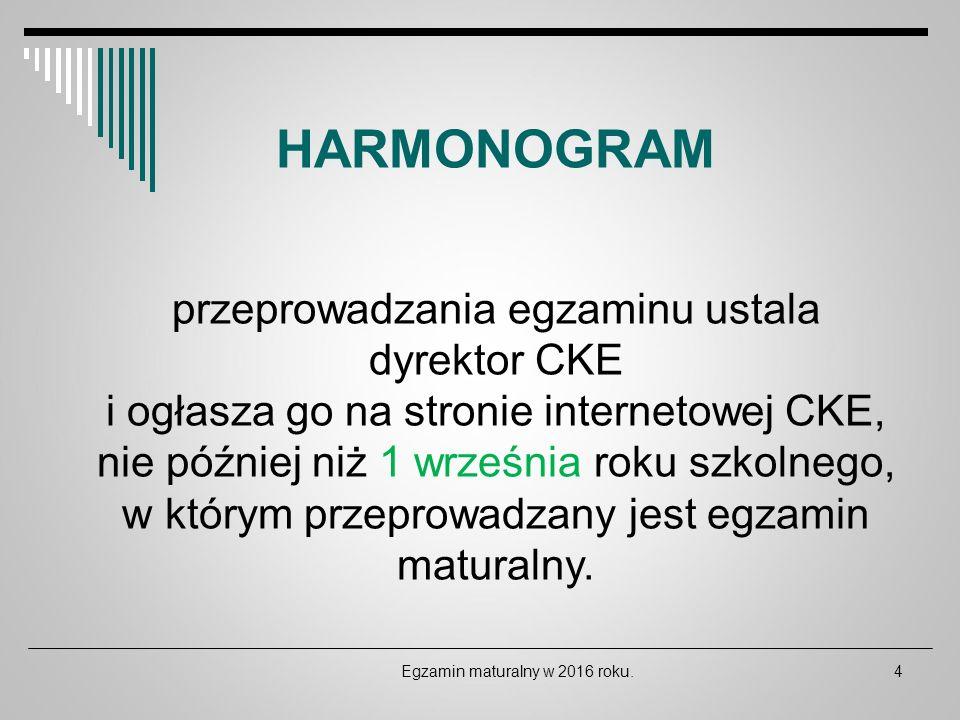 Egzamin maturalny w 2016 roku.