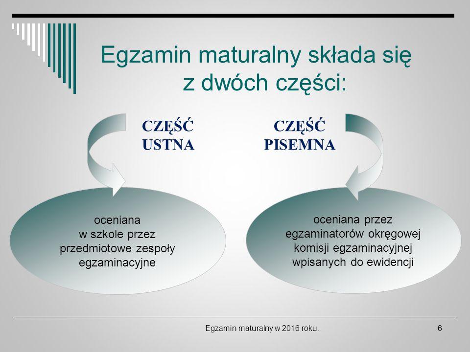 Egzamin maturalny składa się z dwóch części: