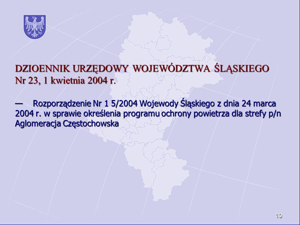 DZIOENNIK URZĘDOWY WOJEWÓDZTWA ŚLĄSKIEGO Nr 23, 1 kwietnia 2004 r