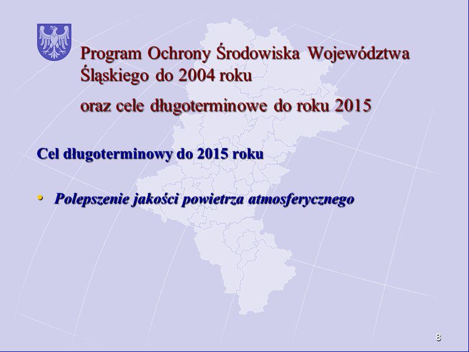 Program Ochrony Środowiska Województwa Śląskiego do 2004 roku oraz cele długoterminowe do roku 2015