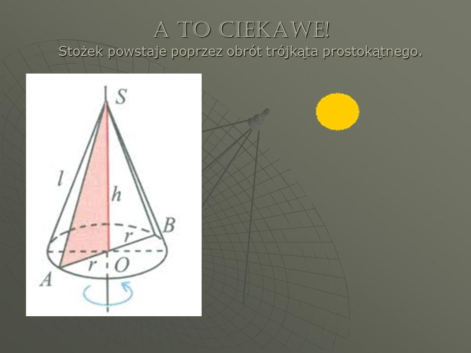 A to ciekawe! Stożek powstaje poprzez obrót trójkąta prostokątnego.