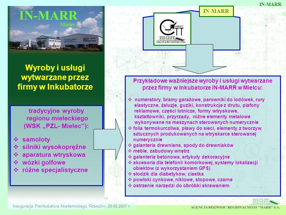 Wyroby i usługi wytwarzane przez firmy w Inkubatorze