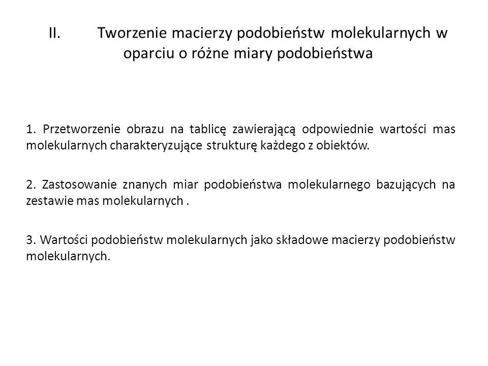 II. Tworzenie macierzy podobieństw molekularnych w oparciu o różne miary podobieństwa