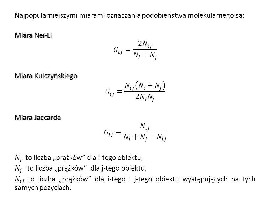 """Najpopularniejszymi miarami oznaczania podobieństwa molekularnego są: Miara Nei-Li 𝐺 𝑖𝑗 = 2 𝑁 𝑖𝑗 𝑁 𝑖 + 𝑁 𝑗 Miara Kulczyńskiego 𝐺 𝑖𝑗 = 𝑁 𝑖𝑗 𝑁 𝑖 + 𝑁 𝑗 2 𝑁 𝑖 𝑁 𝑗 Miara Jaccarda 𝐺 𝑖𝑗 = 𝑁 𝑖𝑗 𝑁 𝑖 + 𝑁 𝑗 − 𝑁 𝑖𝑗 𝑁 𝑖 to liczba """"prążków dla i-tego obiektu, 𝑁 𝑗 to liczba """"prążków dla j-tego obiektu, 𝑁 𝑖𝑗 to liczba """"prążków dla i-tego i j-tego obiektu występujących na tych samych pozycjach."""