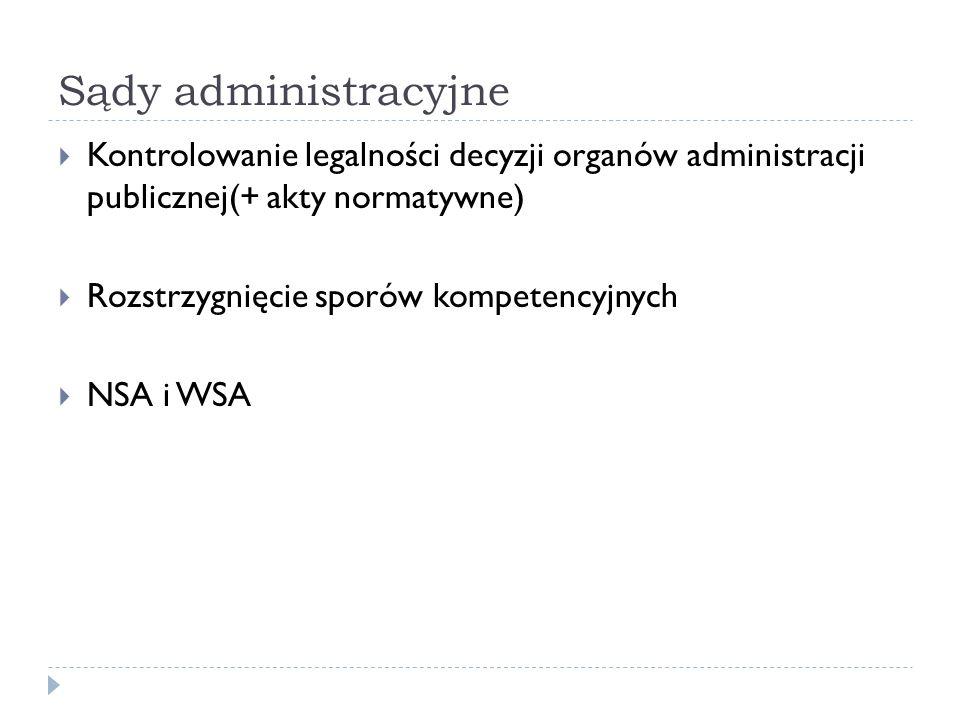Sądy administracyjne Kontrolowanie legalności decyzji organów administracji publicznej(+ akty normatywne)