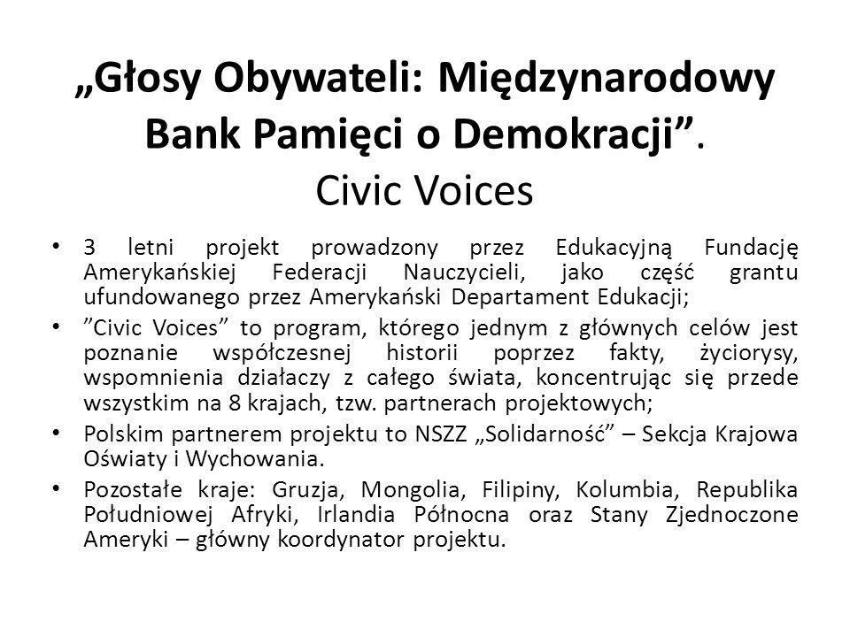 """""""Głosy Obywateli: Międzynarodowy Bank Pamięci o Demokracji"""