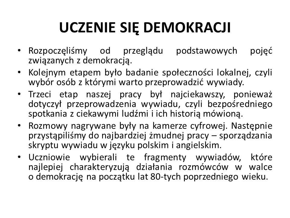 UCZENIE SIĘ DEMOKRACJI