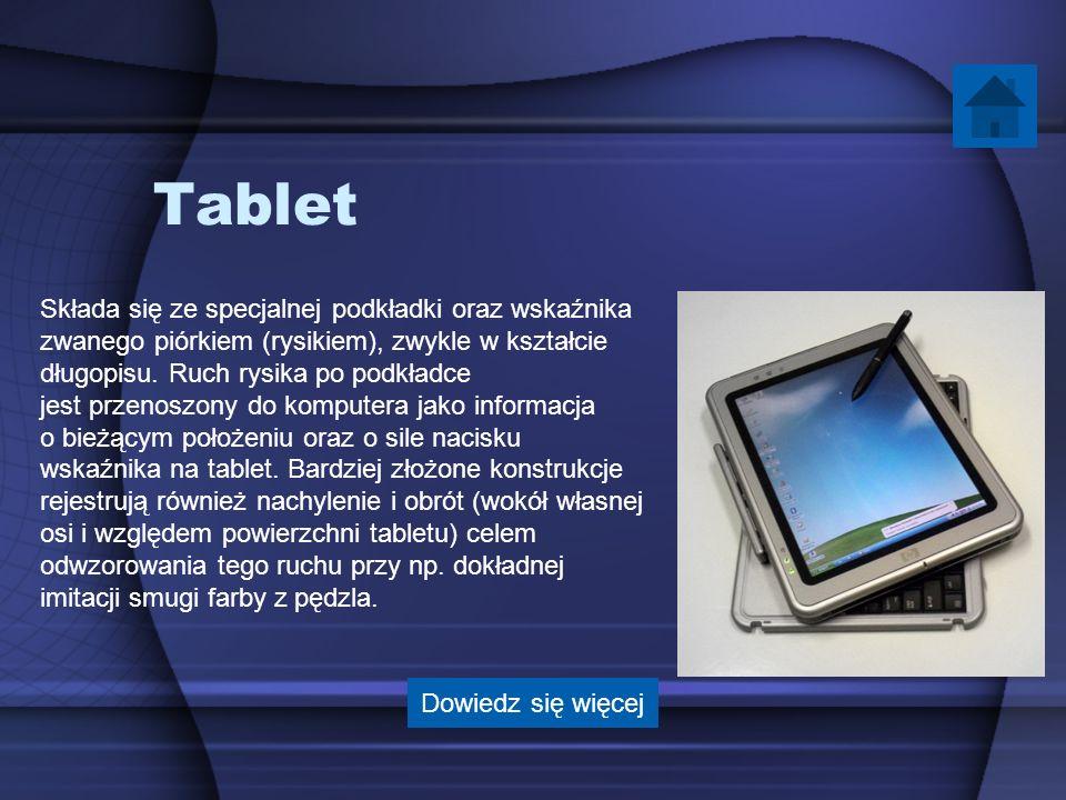 Tablet Składa się ze specjalnej podkładki oraz wskaźnika