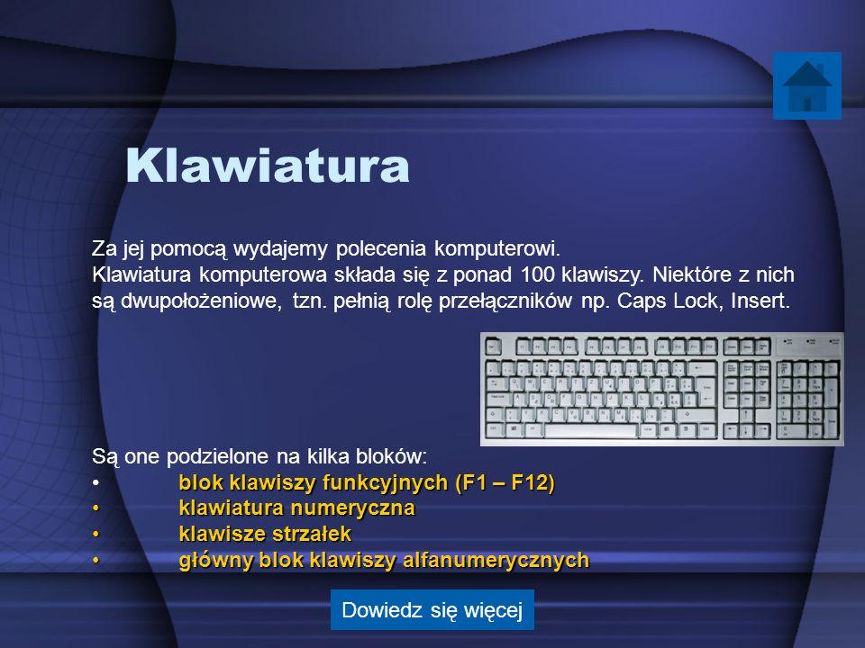 Klawiatura Za jej pomocą wydajemy polecenia komputerowi.