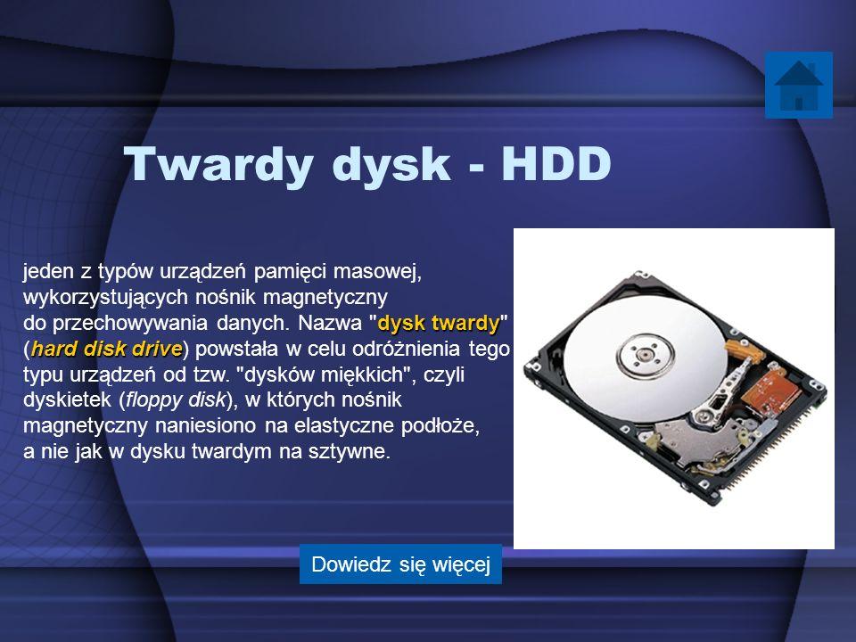 Twardy dysk - HDD jeden z typów urządzeń pamięci masowej,