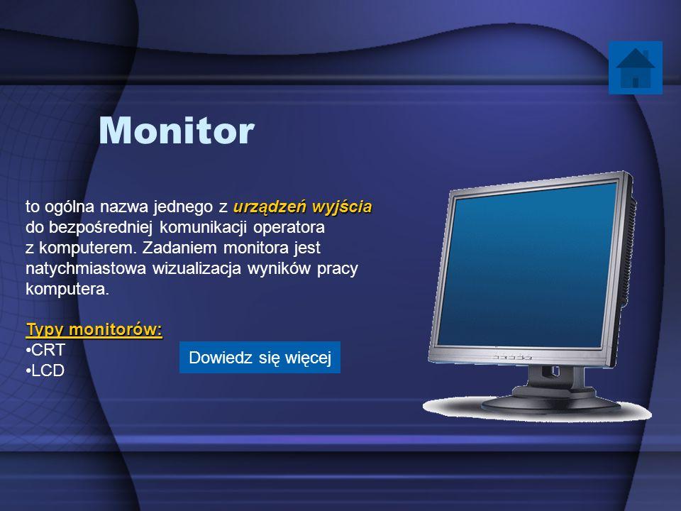 Monitor to ogólna nazwa jednego z urządzeń wyjścia do bezpośredniej komunikacji operatora z komputerem. Zadaniem monitora jest.