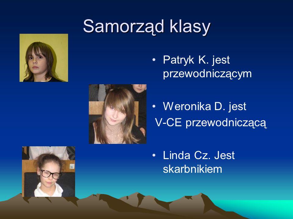 Samorząd klasy Patryk K. jest przewodniczącym Weronika D. jest