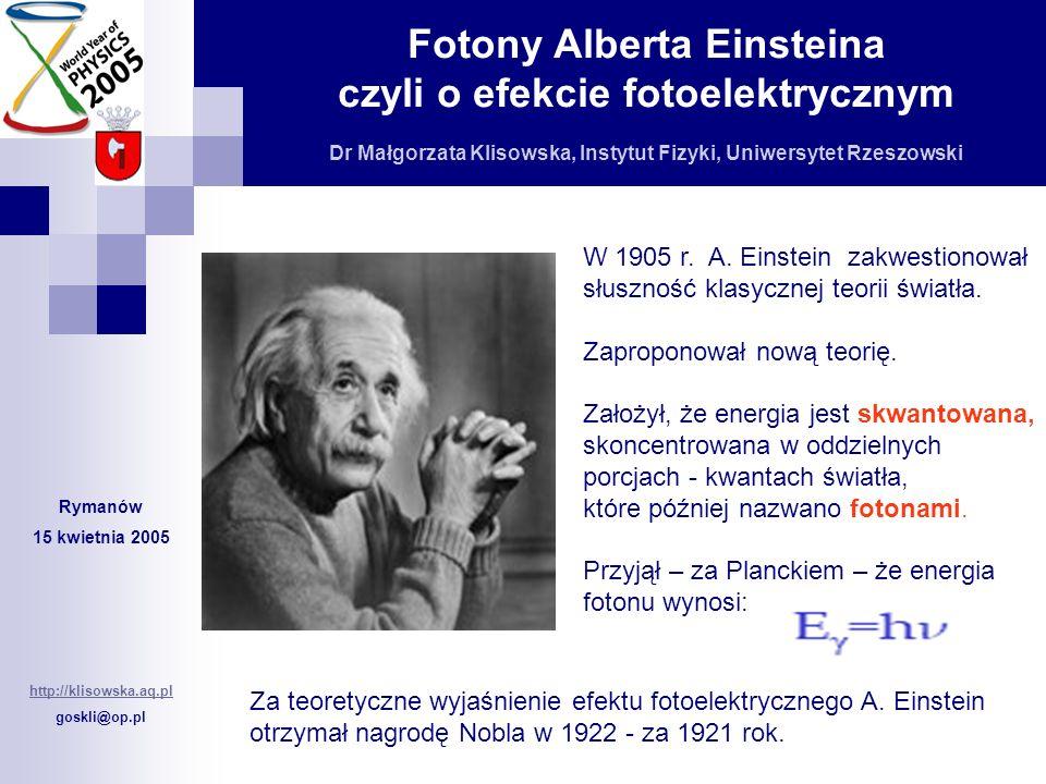 W 1905 r. A. Einstein zakwestionował słuszność klasycznej teorii światła.