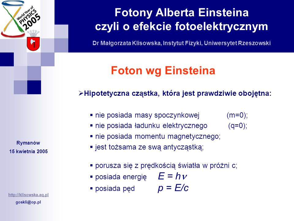 Foton wg Einsteina Hipotetyczna cząstka, która jest prawdziwie obojętna: nie posiada masy spoczynkowej (m=0);