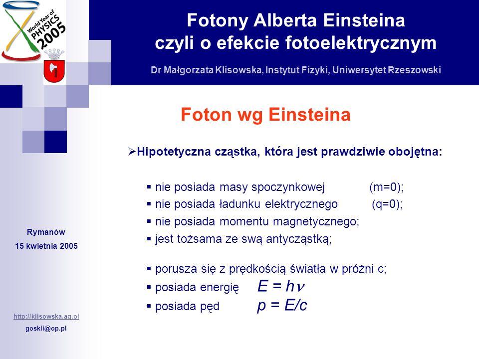 Foton wg EinsteinaHipotetyczna cząstka, która jest prawdziwie obojętna: nie posiada masy spoczynkowej (m=0);